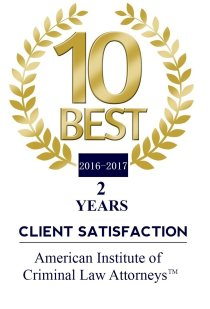 10 Best 2 Years Client Satisfaction - American Institute of Criminal Law Attorneys